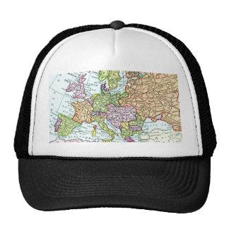 Mapa del vintage de los pasteles coloridos de Euro Gorros Bordados