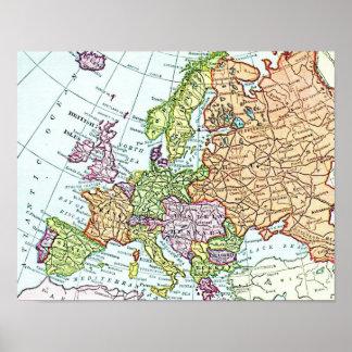 Mapa del vintage de los pasteles coloridos de Euro Poster