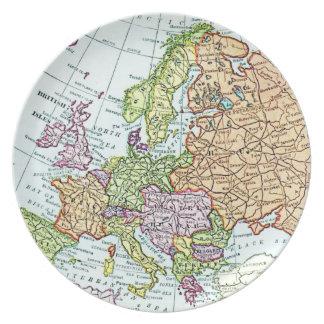 Mapa del vintage de los pasteles coloridos de Euro Plato