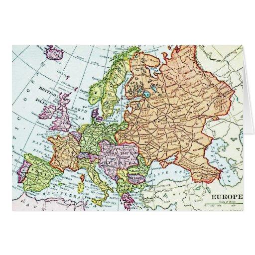Mapa del vintage de los pasteles coloridos de Euro Tarjeta De Felicitación
