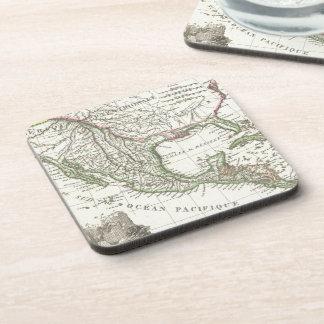 Mapa del vintage de los territorios de Tejas y de  Posavasos De Bebida