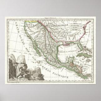 Mapa del vintage de los territorios de Tejas y de  Póster