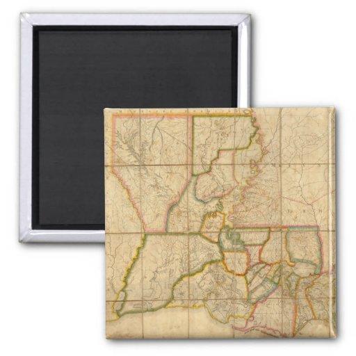 Mapa del vintage de Luisiana (1816) Imán Cuadrado