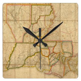 Mapa del vintage de Luisiana (1816) Reloj Cuadrado