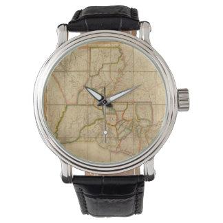 Mapa del vintage de Luisiana (1816) Relojes De Mano