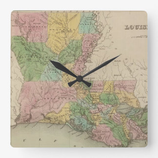 Mapa del vintage de Luisiana (1838) Reloj Cuadrado