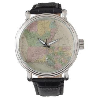 Mapa del vintage de Luisiana (1838) Relojes De Pulsera