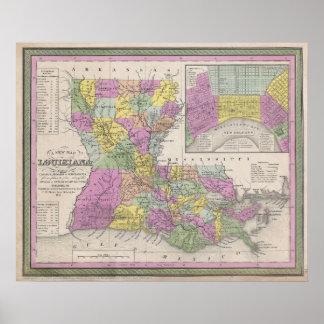 Mapa del vintage de Luisiana 1853 Poster