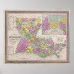 Mapa del vintage de Luisiana (1853) Poster