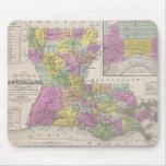 Mapa del vintage de Luisiana (1853) Tapetes De Ratón