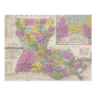 Mapa del vintage de Luisiana 1853 Tarjetas Postales