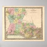 Mapa del vintage de Luisiana Posters