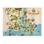 Mapa del vintage de Luisiana Tarjeta Postal