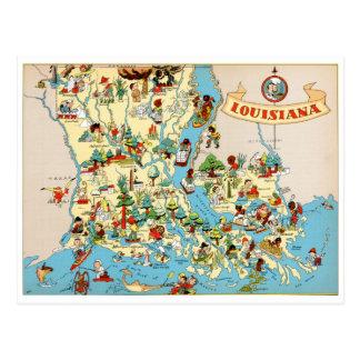Mapa del vintage de Luisiana Postal