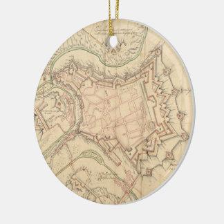Mapa del vintage de Luxemburgo (1686) Adorno De Navidad