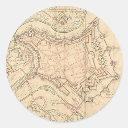 Mapa del vintage de Luxemburgo (1686) Pegatina Redonda