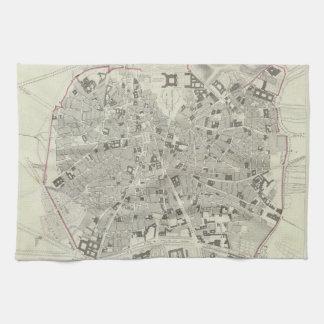 Mapa del vintage de Madrid España (1831) Toallas De Mano