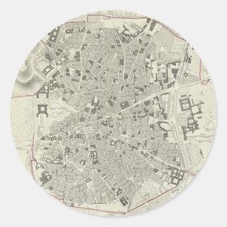 Mapa del vintage de Madrid España (1831) Pegatina Redonda
