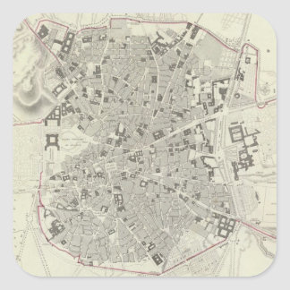 Mapa del vintage de Madrid España (1831) Pegatina Cuadrada