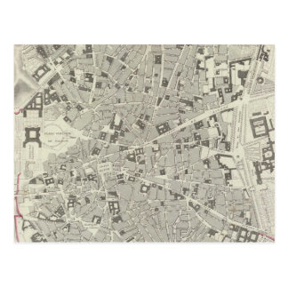 Mapa del vintage de Madrid España (1831) Postal