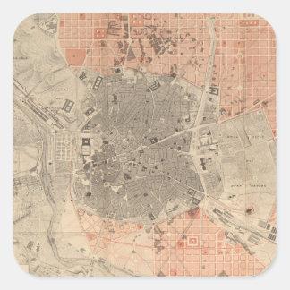 Mapa del vintage de Madrid España (1861) Pegatina Cuadrada