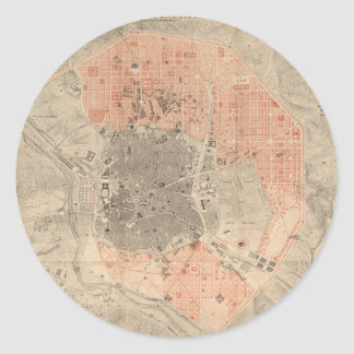 Mapa del vintage de Madrid España (1861) Pegatina Redonda