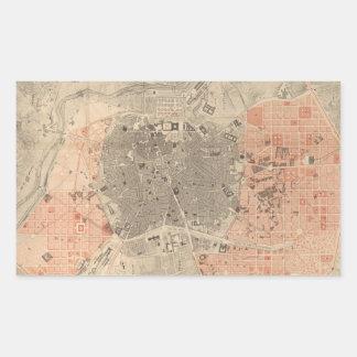 Mapa del vintage de Madrid España (1861) Pegatina Rectangular