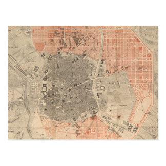 Mapa del vintage de Madrid España (1861) Postales