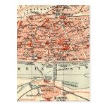 Mapa del vintage de Maguncia Alemania (1905) Postales