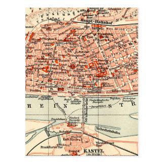 Mapa del vintage de Maguncia Alemania (1905) Tarjeta Postal
