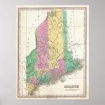 Mapa del vintage de Maine (1827) Posters