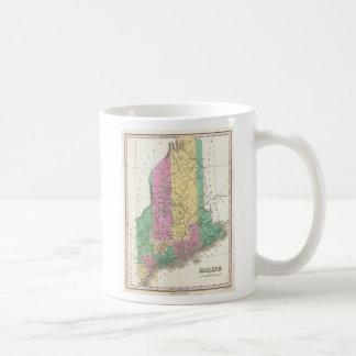 Mapa del vintage de Maine (1827) Tazas De Café