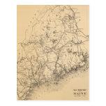 Mapa del vintage de Maine (1894) Postal