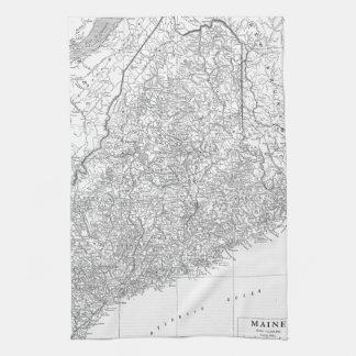 Mapa del vintage de Maine (1911) Toallas De Mano