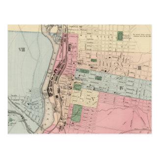 Mapa del vintage de Manchester New Hampshire Tarjetas Postales