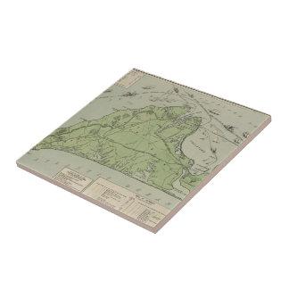 Mapa del vintage de Marthas Vineyard (1913) Azulejo Cuadrado Pequeño
