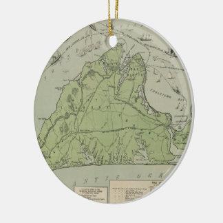 Mapa del vintage de Marthas Vineyard (1913) Adorno De Reyes