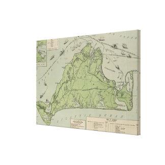 Mapa del vintage de Marthas Vineyard (1913) Impresiones En Lona