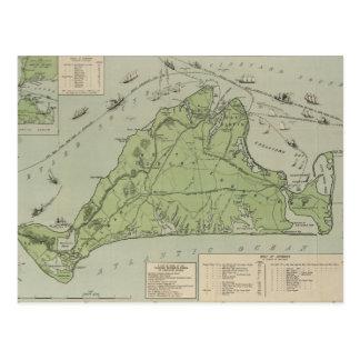 Mapa del vintage de Marthas Vineyard (1913) Tarjetas Postales