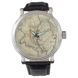 Mapa del vintage de Maryland (1796) Relojes