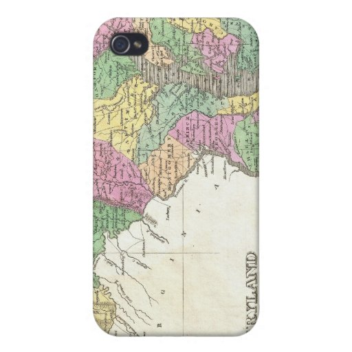 Mapa del vintage de Maryland (1827) iPhone 4 Funda