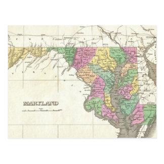 Mapa del vintage de Maryland (1827) Tarjeta Postal