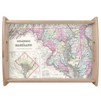 Mapa del vintage de Maryland (1855) Bandeja