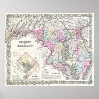 Mapa del vintage de Maryland (1855) Póster