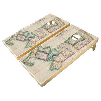 Mapa del vintage de Massachusetts (1827) 2 Juego De Cornhole