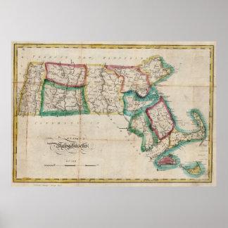 Mapa del vintage de Massachusetts (1827) 2 Póster