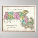 Mapa del vintage de Massachusetts (1827) Póster