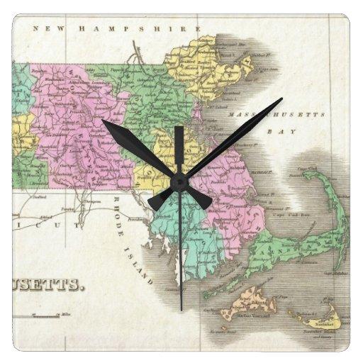 Mapa del vintage de Massachusetts (1827) Relojes
