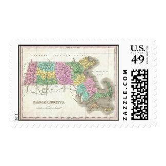 Mapa del vintage de Massachusetts (1827) Sellos