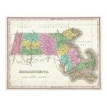Mapa del vintage de Massachusetts (1827) Tarjeta Postal